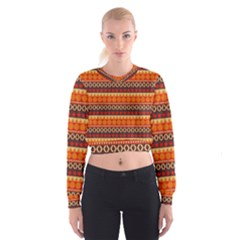 Abstract Lines Seamless Pattern Women s Cropped Sweatshirt