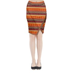 Abstract Lines Seamless Pattern Midi Wrap Pencil Skirt