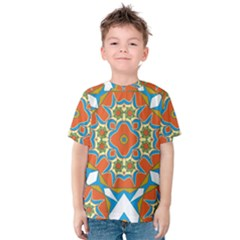 Digital Computer Graphic Geometric Kaleidoscope Kids  Cotton Tee