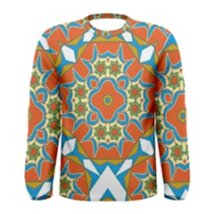 Digital Computer Graphic Geometric Kaleidoscope Men s Long Sleeve Tee