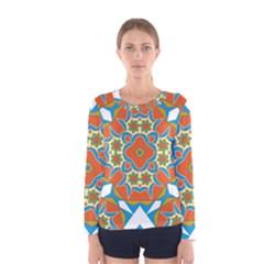 Digital Computer Graphic Geometric Kaleidoscope Women s Long Sleeve Tee