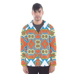 Digital Computer Graphic Geometric Kaleidoscope Hooded Wind Breaker (men)