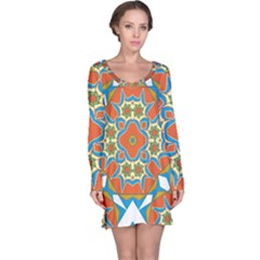 Digital Computer Graphic Geometric Kaleidoscope Long Sleeve Nightdress