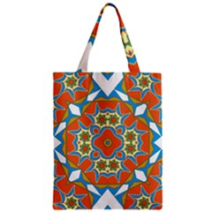 Digital Computer Graphic Geometric Kaleidoscope Zipper Classic Tote Bag
