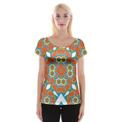 Digital Computer Graphic Geometric Kaleidoscope Women s Cap Sleeve Top