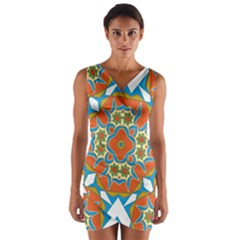Digital Computer Graphic Geometric Kaleidoscope Wrap Front Bodycon Dress