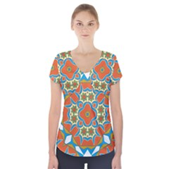 Digital Computer Graphic Geometric Kaleidoscope Short Sleeve Front Detail Top