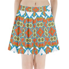 Digital Computer Graphic Geometric Kaleidoscope Pleated Mini Skirt