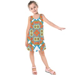Digital Computer Graphic Geometric Kaleidoscope Kids  Sleeveless Dress