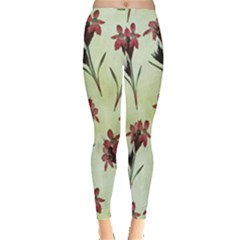 Vintage Style Seamless Floral Wallpaper Pattern Background Leggings