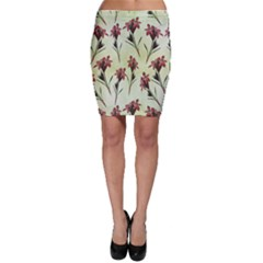 Vintage Style Seamless Floral Wallpaper Pattern Background Bodycon Skirt
