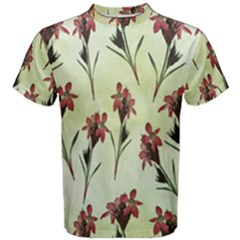 Vintage Style Seamless Floral Wallpaper Pattern Background Men s Cotton Tee