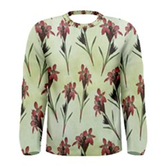 Vintage Style Seamless Floral Wallpaper Pattern Background Men s Long Sleeve Tee