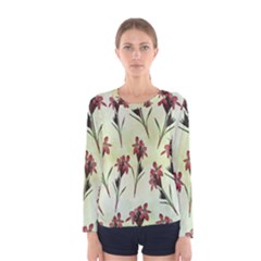 Vintage Style Seamless Floral Wallpaper Pattern Background Women s Long Sleeve Tee