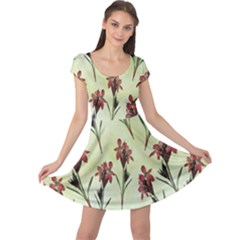 Vintage Style Seamless Floral Wallpaper Pattern Background Cap Sleeve Dresses