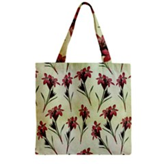 Vintage Style Seamless Floral Wallpaper Pattern Background Zipper Grocery Tote Bag