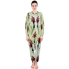 Vintage Style Seamless Floral Wallpaper Pattern Background OnePiece Jumpsuit (Ladies)