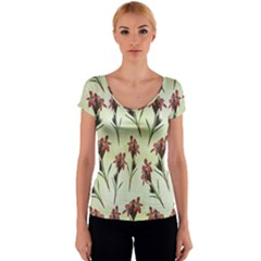 Vintage Style Seamless Floral Wallpaper Pattern Background Women s V-Neck Cap Sleeve Top