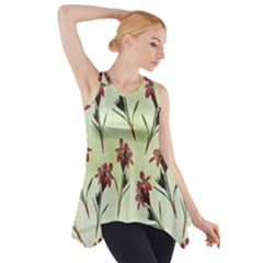 Vintage Style Seamless Floral Wallpaper Pattern Background Side Drop Tank Tunic
