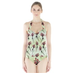 Vintage Style Seamless Floral Wallpaper Pattern Background Halter Swimsuit