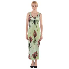 Vintage Style Seamless Floral Wallpaper Pattern Background Fitted Maxi Dress