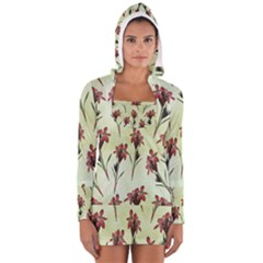 Vintage Style Seamless Floral Wallpaper Pattern Background Women s Long Sleeve Hooded T Shirt