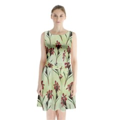 Vintage Style Seamless Floral Wallpaper Pattern Background Sleeveless Chiffon Waist Tie Dress