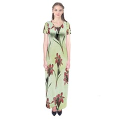 Vintage Style Seamless Floral Wallpaper Pattern Background Short Sleeve Maxi Dress