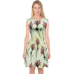 Vintage Style Seamless Floral Wallpaper Pattern Background Capsleeve Midi Dress