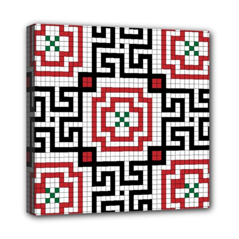 Vintage Style Seamless Black, White And Red Tile Pattern Wallpaper Background Mini Canvas 8  X 8