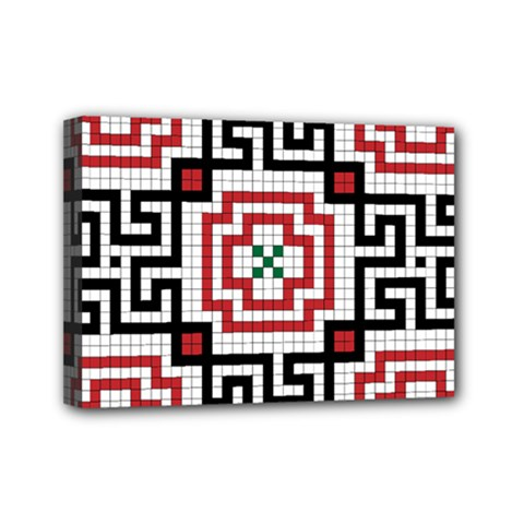 Vintage Style Seamless Black, White And Red Tile Pattern Wallpaper Background Mini Canvas 7  X 5