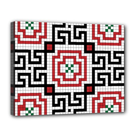 Vintage Style Seamless Black, White And Red Tile Pattern Wallpaper Background Canvas 14  x 11