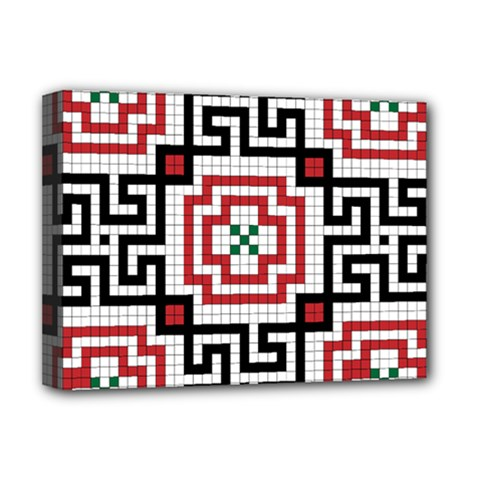 Vintage Style Seamless Black, White And Red Tile Pattern Wallpaper Background Deluxe Canvas 16  X 12