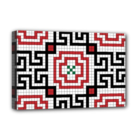 Vintage Style Seamless Black, White And Red Tile Pattern Wallpaper Background Deluxe Canvas 18  x 12
