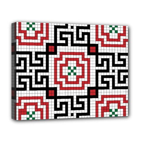 Vintage Style Seamless Black, White And Red Tile Pattern Wallpaper Background Deluxe Canvas 20  x 16