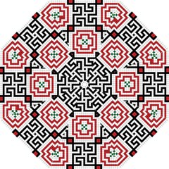 Vintage Style Seamless Black, White And Red Tile Pattern Wallpaper Background Golf Umbrellas