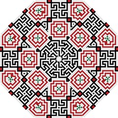 Vintage Style Seamless Black, White And Red Tile Pattern Wallpaper Background Hook Handle Umbrellas (small)