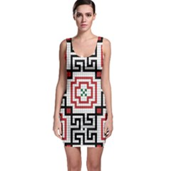 Vintage Style Seamless Black, White And Red Tile Pattern Wallpaper Background Sleeveless Bodycon Dress
