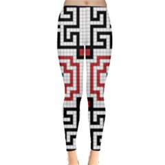 Vintage Style Seamless Black, White And Red Tile Pattern Wallpaper Background Leggings