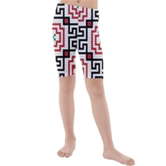 Vintage Style Seamless Black, White And Red Tile Pattern Wallpaper Background Kids  Mid Length Swim Shorts