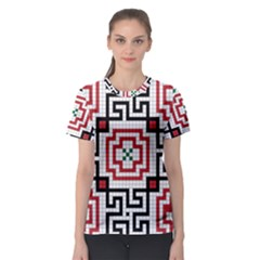 Vintage Style Seamless Black, White And Red Tile Pattern Wallpaper Background Women s Sport Mesh Tee