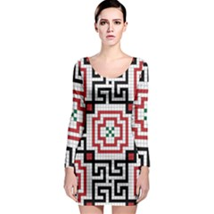 Vintage Style Seamless Black, White And Red Tile Pattern Wallpaper Background Long Sleeve Bodycon Dress
