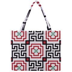 Vintage Style Seamless Black, White And Red Tile Pattern Wallpaper Background Mini Tote Bag