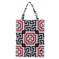 Vintage Style Seamless Black, White And Red Tile Pattern Wallpaper Background Classic Tote Bag