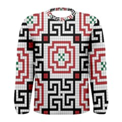 Vintage Style Seamless Black, White And Red Tile Pattern Wallpaper Background Men s Long Sleeve Tee
