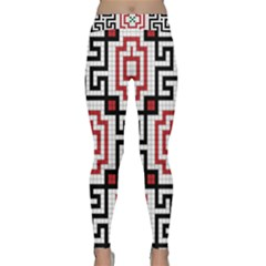 Vintage Style Seamless Black, White And Red Tile Pattern Wallpaper Background Classic Yoga Leggings