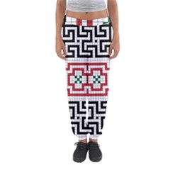 Vintage Style Seamless Black, White And Red Tile Pattern Wallpaper Background Women s Jogger Sweatpants