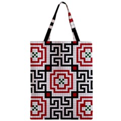 Vintage Style Seamless Black, White And Red Tile Pattern Wallpaper Background Zipper Classic Tote Bag