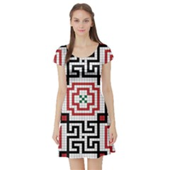 Vintage Style Seamless Black, White And Red Tile Pattern Wallpaper Background Short Sleeve Skater Dress