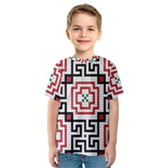 Vintage Style Seamless Black, White And Red Tile Pattern Wallpaper Background Kids  Sport Mesh Tee